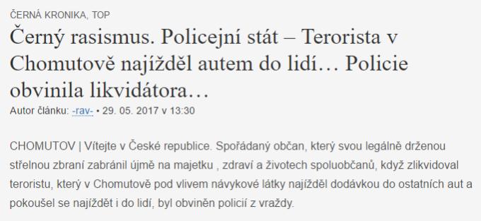 Černý rasismus. Policejní stát – Terorista v Chomutově najížděl autem do lidí… Policie obvinila likvidátora… VlasteneckeNoviny.cz